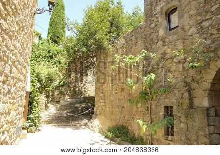 Plants on stone street in the medieval village of Pals located in the middle of the Emporda region of Girona Catalonia Spain.
