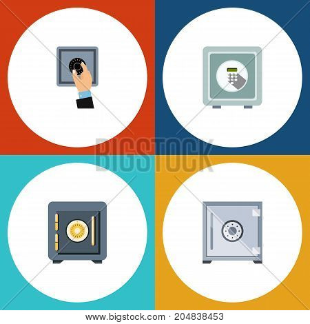 Flat Icon Closed Set Of Strongbox, Saving, Closed And Other Vector Objects