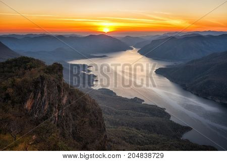 Landscape of sunrise on mountain pha daeng luang at Mae Ping National Park.