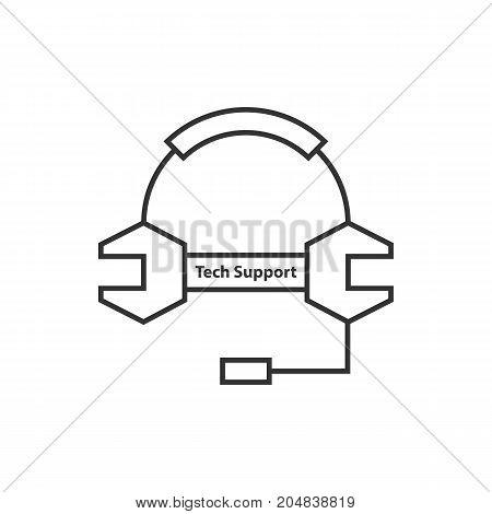 thin line tech support logo. concept of expert advice, dispatcher, helpline, equipment, talk, maintenance, assistance. flat style trend modern logotype design vector illustration on white background