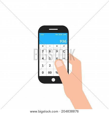 hand holding phone with calculator app. concept of ui, income, balance, tax, program, gadget, marketing, accounting, growth. flat style trend modern design vector illustration on white background