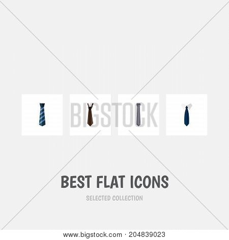 Flat Icon Tie Set Of Necktie, Cravat, Tie And Other Vector Objects