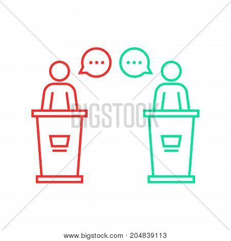 debates between candidates. concept of pr, 2016 usa voting, duel, dialog, man figure, meeting, vs, polemic, senator, primaries, podium flat style trend logo design illustration on white background poster