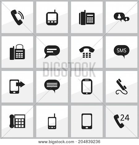 Set Of 16 Editable Gadget Icons. Includes Symbols Such As Share Display, Comment, Radio Talkie And More