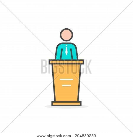 colored linear spokesman icon. concept of master class, vote, meeting, instructor, pedestal, narrator, mentor, announcement. flat style trend modern logo design vector illustration on white background