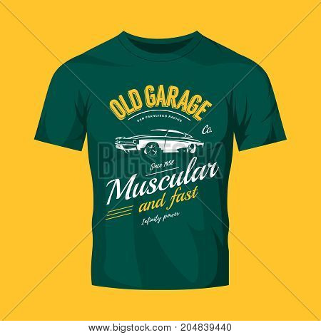 Vintage muscle car vector logo concept isolated on green t-shirt mock up. Premium quality old sport vehicle logotype t-shirt emblem illustration. San Francisco racing street wear superior retro tee print design.
