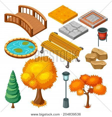 Isometric autumn park landscape icons collection with plants trees bench bridge stones garbage pond isolated vector illustration
