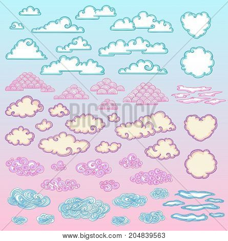 Sketch colorful beautiful clouds set of different shapes and sizes on light background isolated vector illustration