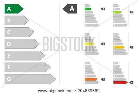 Energy Efficiency signs set vector illustration isolated