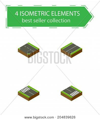 Isometric Way Set Of Downward, Plane, Strip And Other Vector Objects