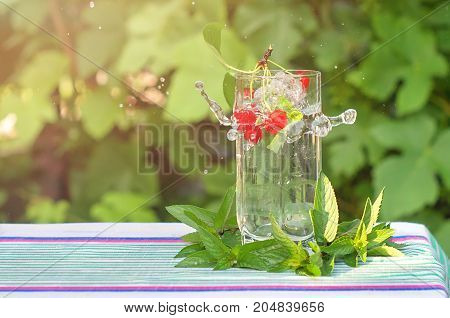 bunch of red cherries fall into a glass with mineral water sunlight