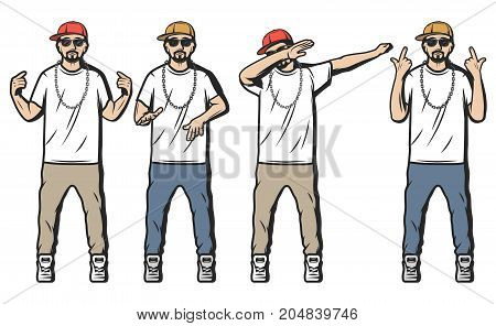 Vintage colored rappers set with bearded guys dressed in hip hop style and showing different rap gestures isolated vector illustration