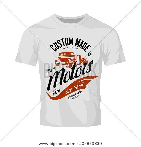 Vintage custom hot rod motors vector logo concept isolated on white t-shirt mock up.Premium quality old sport car logotype t-shirt emblem illustration. Street wear superior retro badge tee print design.