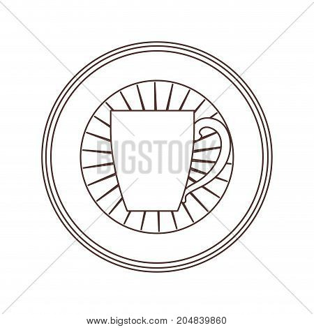 circular logo shield decorative of mug with handle striped brown silhouette on white background vector illustration