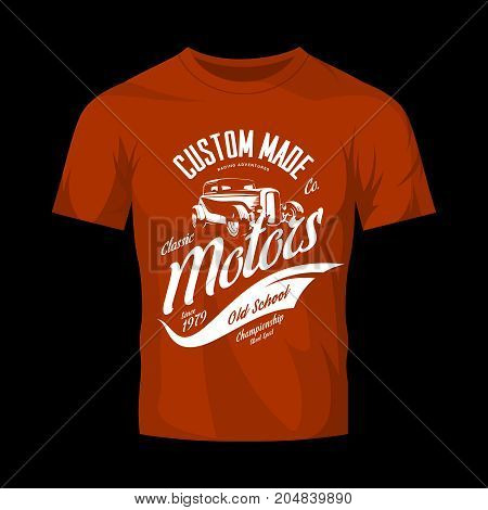 Vintage custom hot rod motors vector logo concept isolated on red t-shirt mock up.Premium quality old sport car logotype t-shirt emblem illustration. Street wear superior retro badge tee print design.