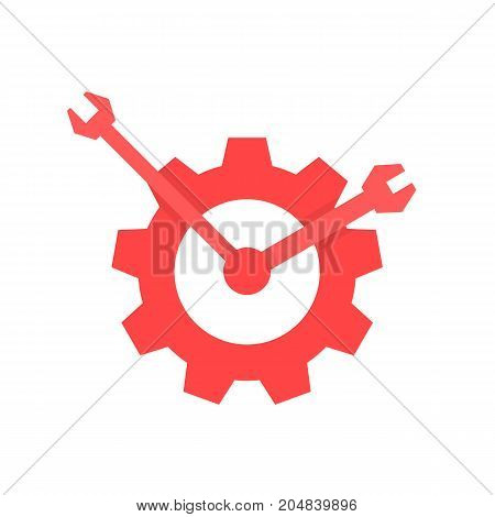 red repair service logo like clock. concept of visual identity, engineering, garage spare, automobile motor. flat style trend modern brand graphic design vector illustration on white background