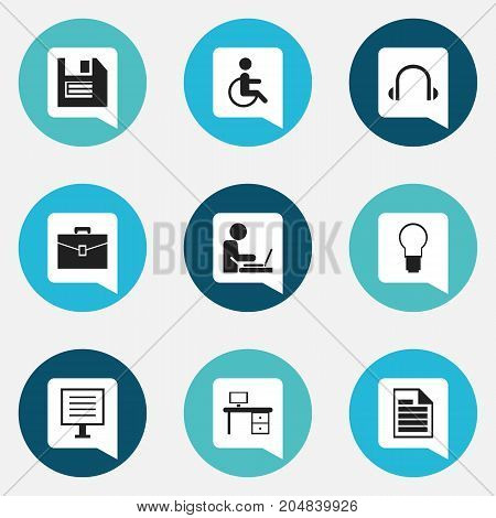 Set Of 9 Editable Bureau Icons. Includes Symbols Such As Office Desk, Light, Worker In Laptop And More