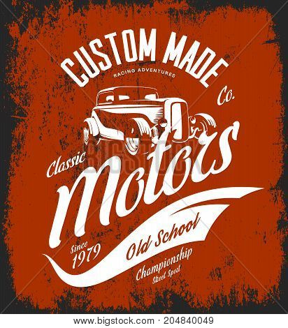 Vintage custom hot rod motors vector logo concept isolated on red background. Premium quality old sport car logotype t-shirt emblem illustration. Street wear superior retro badge tee print design.