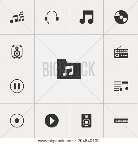 Set Of 13 Editable Sound Icons. Includes Symbols Such As Pianoforte, Dossier, Musical Symbol And More