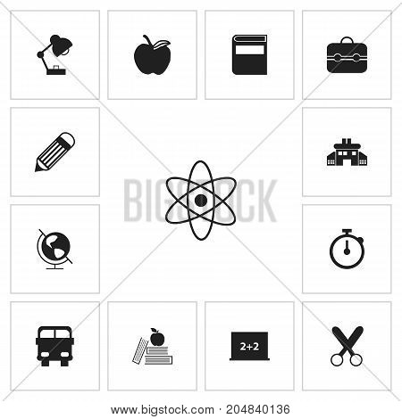 Set Of 13 Editable Education Icons. Includes Symbols Such As Earth Planet, Timer, Literature And More