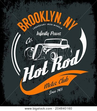 Vintage hot rod vector logo concept isolated on dark background. Premium quality old sport car logotype t-shirt emblem illustration. Brooklyn, New York street wear superior retro tee print design.