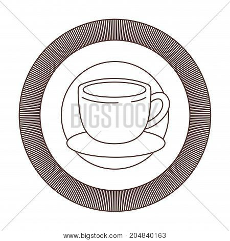 logo emblem decorative of cup of coffee with handle striped brown silhouette on white background vector illustration