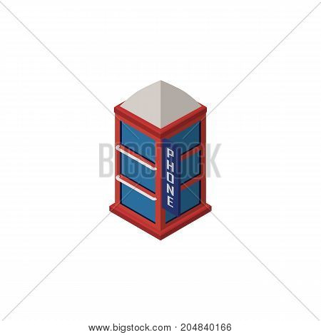 Phone Box Vector Element Can Be Used For Telephone, Booth, Phone Design Concept.  Isolated Telephone Booth Isometric.