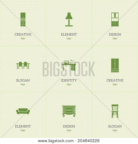 Set Of 9 Editable Interior Icons. Includes Symbols Such As Glim, Wardrobe, Material Cupboard And More