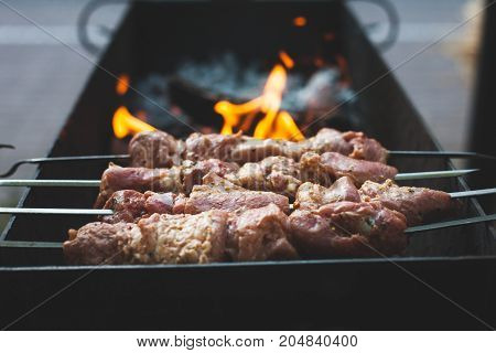Meat Is Fried In The Grill.