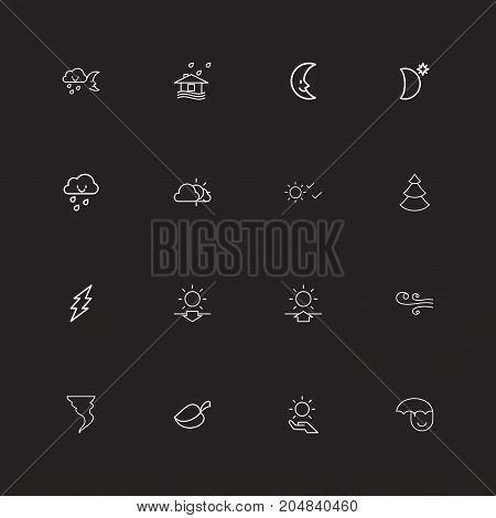 Set Of 16 Editable Air Outline Icons. Includes Symbols Such As Solar, Crescent Overcast, Plant And More