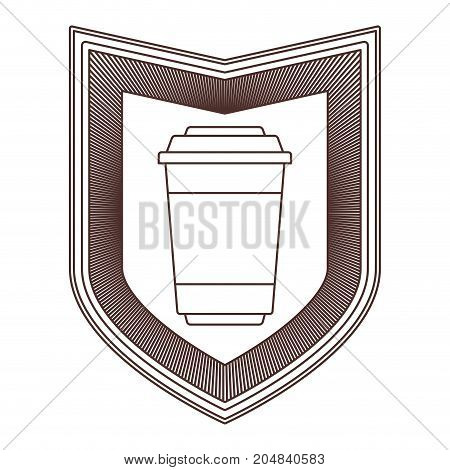 logo badge decorative of glass disposable for hot drinks with lid striped brown silhouette on white background vector illustration