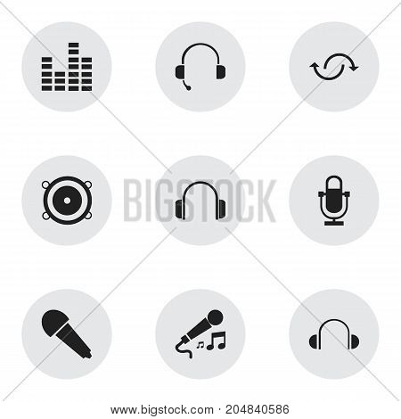 Set Of 9 Editable Melody Icons. Includes Symbols Such As Bar Wave, Recorder, Earflaps And More