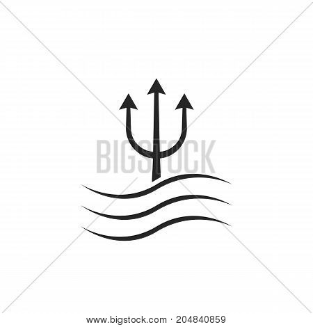 black trident icon with waves. concept of creative visual identity, horror, nautical, lance, authority, force. flat style trend modern trident logo brand design vector illustration on white background