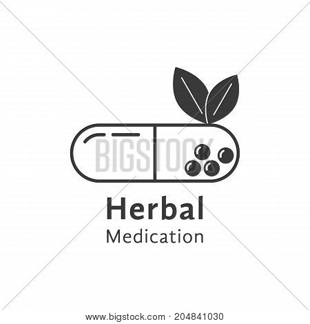 black herbal medication logo with pill. concept of visual identity, medicate, sprout, heal, aid, seed, dietary, science. flat style trend modern brand design vector illustration on white background