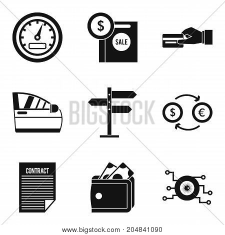 Sale of spare parts icons set. Simple set of 9 sale of spare parts vector icons for web isolated on white background