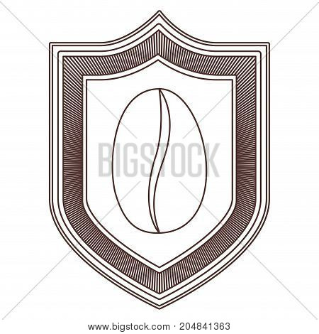 logo emblem decorative of bean coffee striped brown silhouette on white background vector illustration