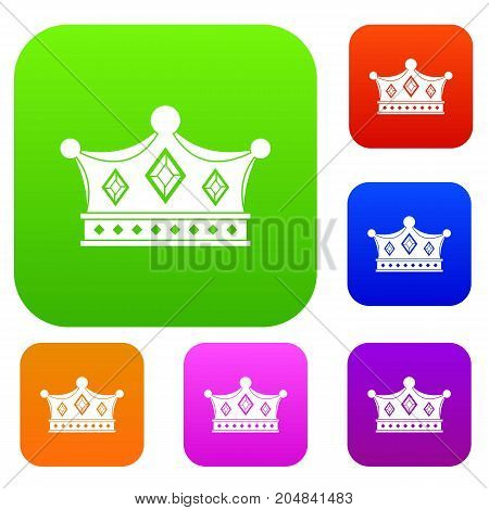 Prince crown set icon color in flat style isolated on white. Collection sings vector illustration