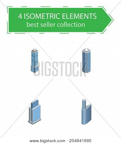 Isometric Skyscraper Set Of Building, Apartment, Skyscraper And Other Vector Objects