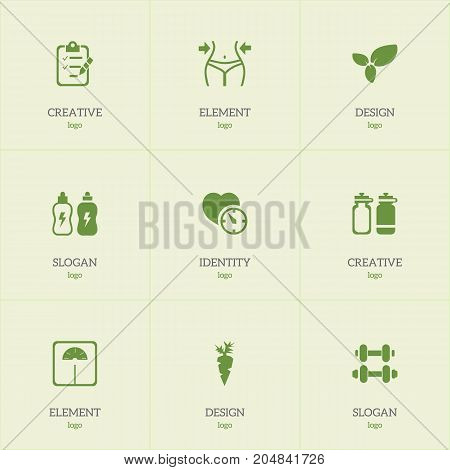 Set Of 9 Editable Lifestyle Icons. Includes Symbols Such As Energetic Beverage, Hand Barbell, Root Vegetable