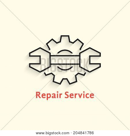 black outline repair service logo. concept of adjustable kit, seo, fix, restore, assemble, gearwheel. flat linear style trend modern brand design template vector illustration on white background