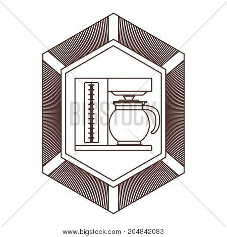 logo badge decorative of coffee maker with glass jar striped brown silhouette on white background vector illustration