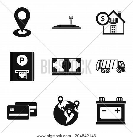 Relocation service icons set. Simple set of 9 relocation service vector icons for web isolated on white background