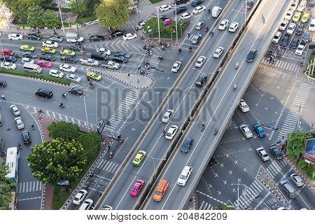 Road traffic in city at thailand .Bangkok Expressway top view Top view