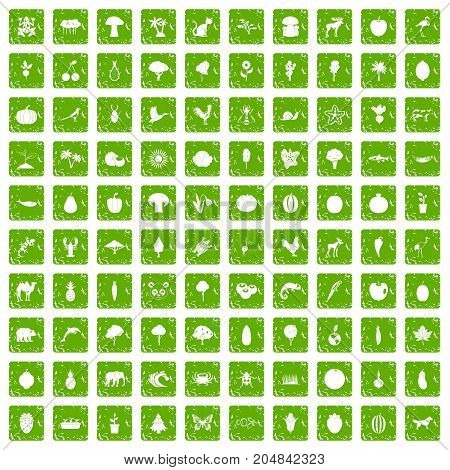 100 live nature icons set in grunge style green color isolated on white background vector illustration