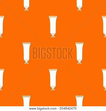 Cosmetic tube pattern repeat seamless in orange color for any design. Vector geometric illustration