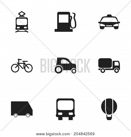 Set Of 9 Editable Transport Icons. Includes Symbols Such As Airship, Tramcar, Part Of Car And More