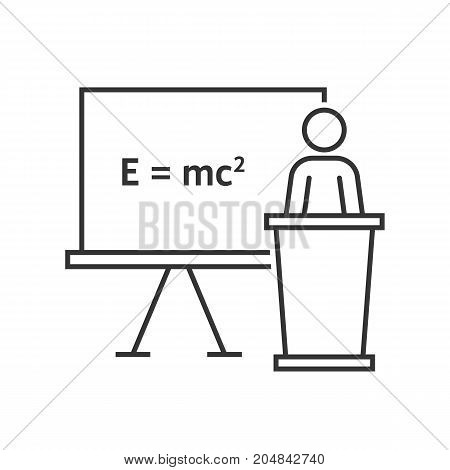 thin line physics teacher. concept of emc, emc2, theorem, podium desk, rule, pedagogy, qed, math, stick figure, physicist. flat style trend modern logo design vector illustration on white background