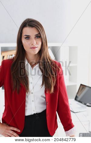 Businesswoman In The Workplace In The Office Portrait