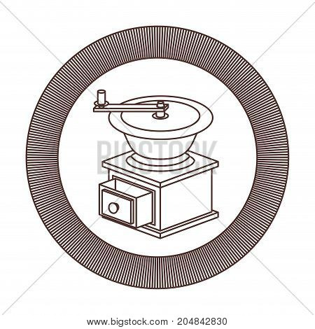 logo shield circular decorative of coffee grinding with cranks striped brown silhouette on white background vector illustration