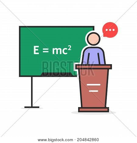 color linear physics teacher. concept of emc, emc2 theorem, podium desk, rule, pedagogy, qed, math, stick figure, physicist. flat style trend modern logo design vector illustration on white background